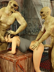 Goblin enjoys Floosie in ropes licking his body
