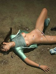 Perverted Babe playing with terrified 3D Man